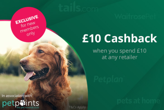 Free Ten Pounds with TopCashback & Pet Points